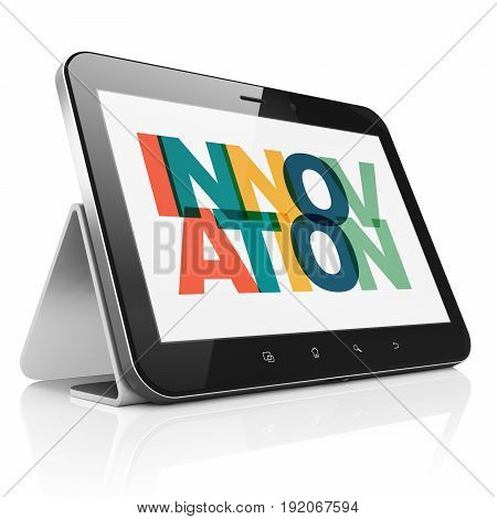 Finance concept: Tablet Computer with Painted multicolor text Innovation on display, 3D rendering