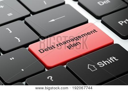 Finance concept: computer keyboard with word Debt Management Plan, selected focus on enter button background, 3D rendering