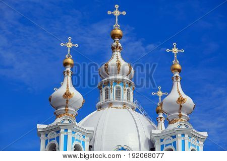 Onion domes of the Smolny Cathedral (built 1746 - 1835). St. Petersburg, Russia.