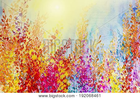 Abstract watercolor original landscape painting imagination colorful of sunbeam beauty flowers and emotion in blue background.