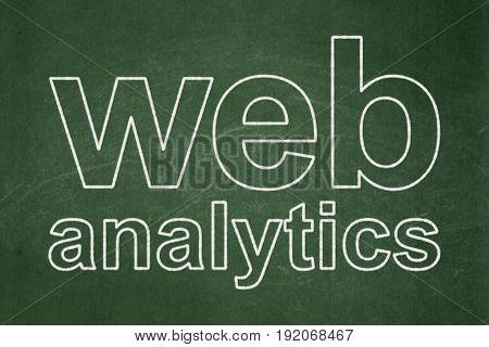 Web design concept: text Web Analytics on Green chalkboard background