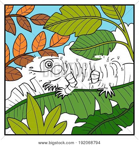 Numbers game, education dot to dot game for children, Xenosaurus and background