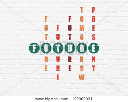 Time concept: Painted green word Future in solving Crossword Puzzle