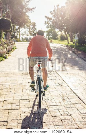 Back view of handsome guy riding bicycle in the park.
