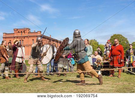 St. Petersburg Russia - 28 May, Knight tournament on swords,28 May, 2017. Knight tournament at the festival of ancient Vikings in St. Petersburg.