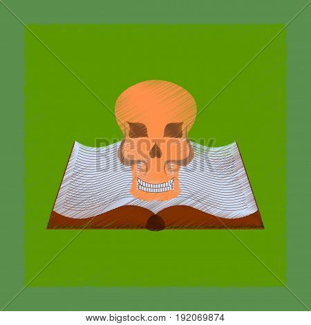 flat shading style icon of book skull