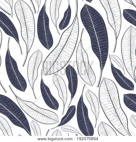Trendy seamless pattern with tropical leaves. Graphic leaves of mango fruit isolated on white background.Vector illustration for printtextilewrapping paper.