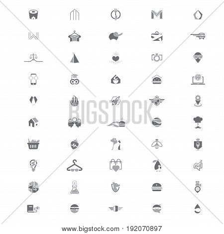 Set of 50 creative logo templates suitable for several business. 100% Vector and easy to edit.