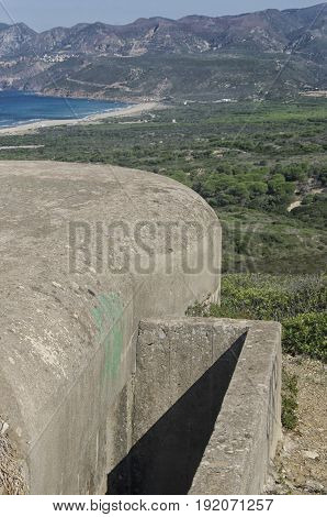View of military bunker along the coast