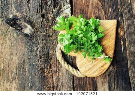 Fresh organic parsley on wooden cutting board. Macro with shallow dof.