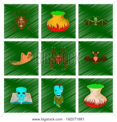 assembly flat shading style icon of halloween cute bat spider book skull ghost cauldron zombie men