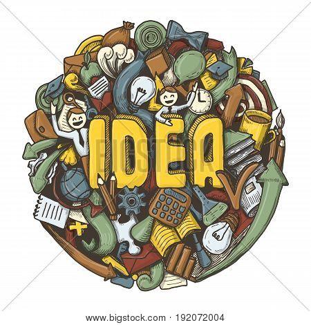 Doodles sketch concept for idea, business, finance and communication. Vector illustration.