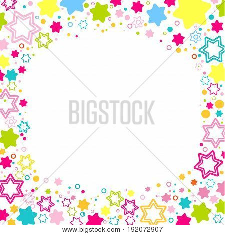 Vector square frame with colored stars on the white background, sparkles Colored confetti symbols - star glitter, stellar flare. Flat style for decorating your design