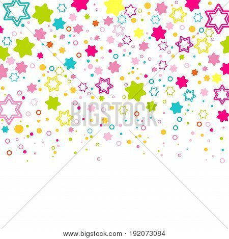 rainbow colors. background with colorful stars. Flat style for decorating your design