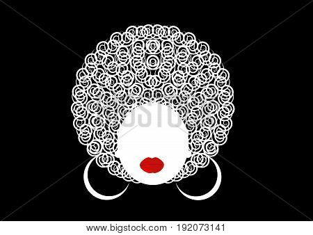 portrait albina girl , african female face with hair afro on isolated or black background