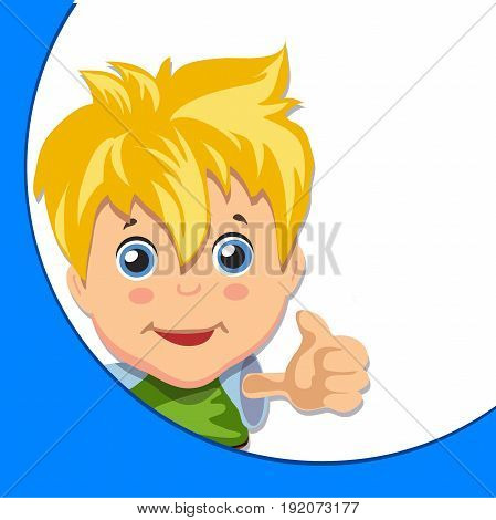 Cartoon boy giving you thumbs up. Blonde with blue eyes, Cartoon style
