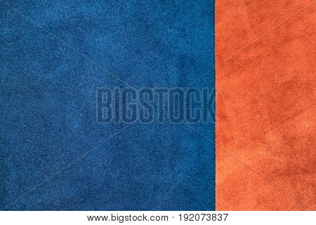 Close Up Suede Navy Blue And Orange Leather Divide At One Third Ratio Texture Background,fabrics Div