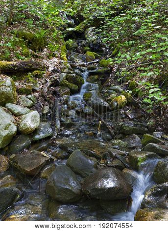 Waterfall at Mount Washinton via Ammonoosuc ravine trail in Coos County New Hampshire.