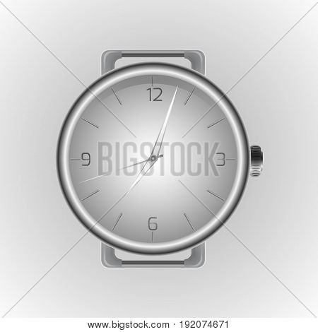 Realistic illustration of a wristwatch. Clock face. Vector element for your design