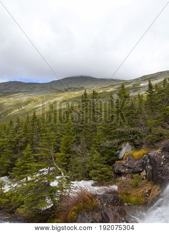 View of top of Mount Washington area via Ammonoosuc ravine trail Coos County New Hampshire.