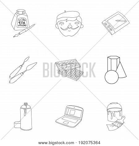 Artist and drawing set icons in outline design. Big collection of artist and drawing vector symbol stock illustration