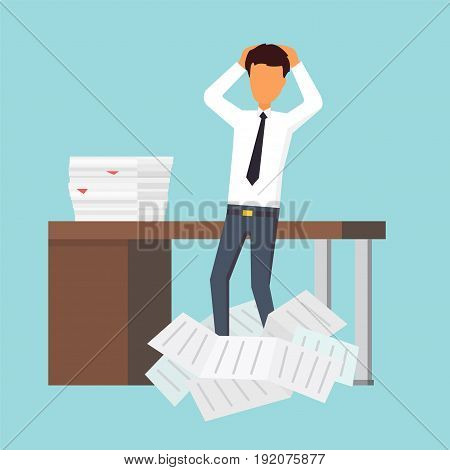 Paperwork at office. Businessman holding document. Vector illustration