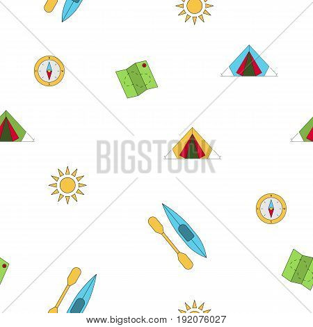 Seamless pattern on summer vacation in the campground. Vector pattern camping isolated on white background
