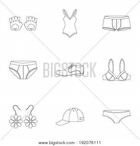 Clothes set icons in outline style. Big collection of clothes vector symbol stock