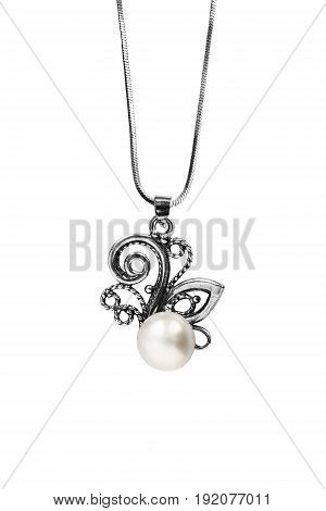 Vintage elegant pearl pendant on a chain isolated over white