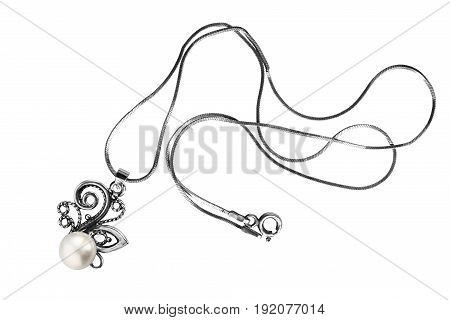 Necklace with a silver pearl pendant isolated over white