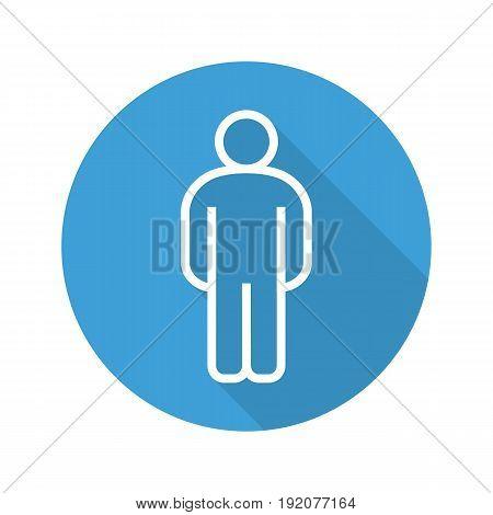 Man flat linear long shadow icon. Gentleman WC door sign. Vector line symbol