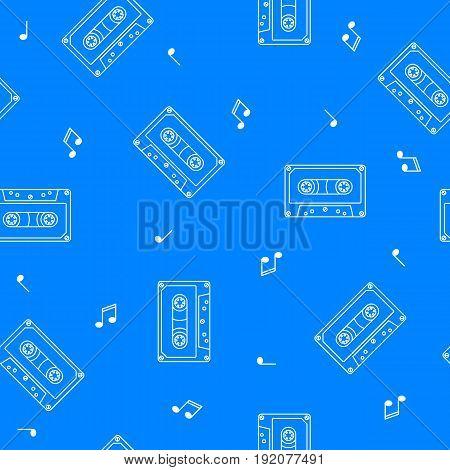 Retro cassette seamless pattern music concept vector