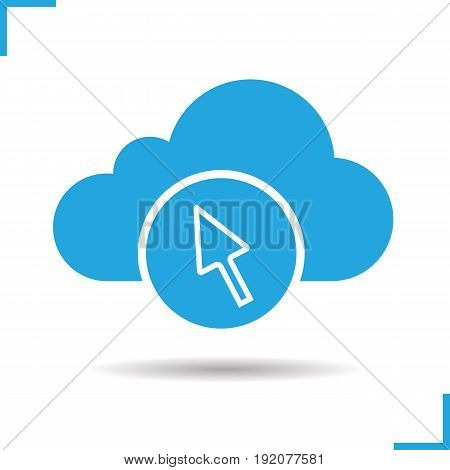 Cloud storage access glyph icon. Computer mouse cursor. Drop shadow silhouette symbol. Cloud computing. Negative space. Vector isolated illustration