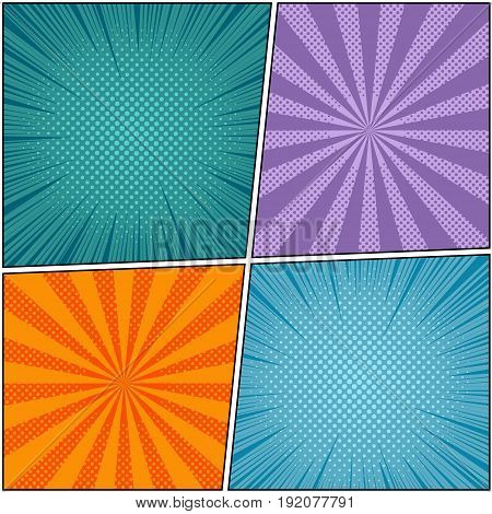 Pop art book page colorful background with rays, radial and halftone effects in comic style. Four blank templates. Vector illustration