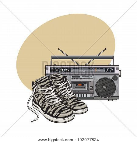 Pair of zebra sneakers and audio tape recorder, boom box from 90s, retro icons, sketch vector illustration with space for text. Retro style sneakers and tape recorder from nineties