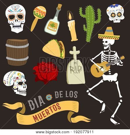 Colorful set of icons for dia de los muertos. Day of the dead and halloween. Skull catrina party culture vintage symbols. Traditional festival happy design vector illustration.