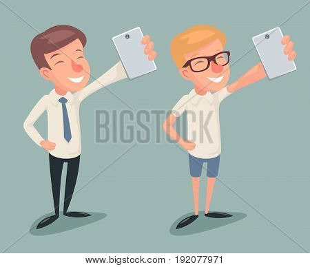 Geek Hipster Selfie Casual Businessman Character Cartoon Icons Vector illustration