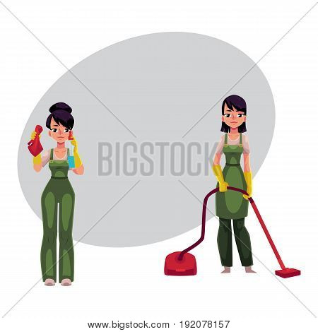 Two cleaning service girls in overalls, one with vacuum cleaner, another washing windows, cartoon vector illustration with space for text. Service girls, vacuum cleaning, washing windows