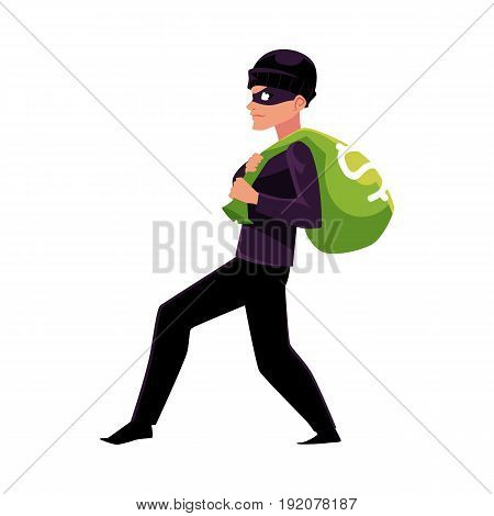 Thief, robber, burglar trying to escape with a money bag, cartoon vector illustration isolated on white background. Full length portrait of burglar, thief, robber in black disguise stealing money bag