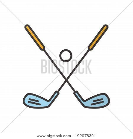 Golf ball and clubs color icon. Golf equipment. Isolated vector illustration