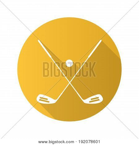 Golf ball and clubs. Flat design long shadow icon. Golf equipment. Vector silhouette symbol