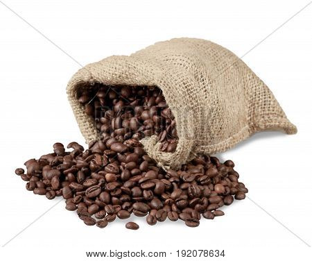 Coffee spill beans sack green white background