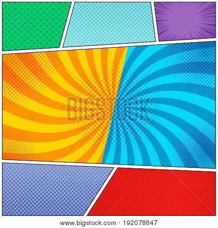 Comic book page colorful backgrounds set with rays, radial, halftone and dotted effects in pop art style. Vector illustration