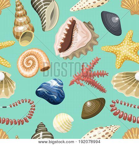 Sea shells marine cartoon clam-shell and ocean starfish vector illustration.. Exotic snail aquarium beauty scallop nature seashell hand drawn sketch seamless pattern background