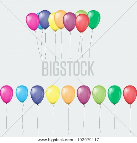 Bunches and groups of colorful helium balloons isolated. Vector illustration