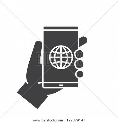 Hand holding smartphone glyph icon. Silhouette symbol. Smart phone network connection. Negative space. Vector isolated illustration