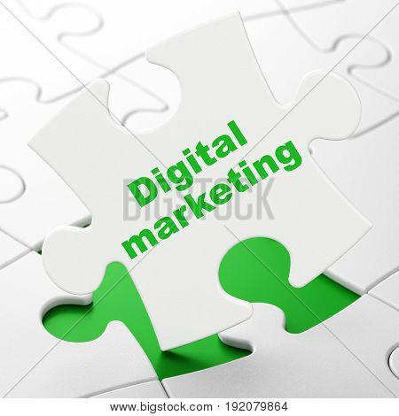 Advertising concept: Digital Marketing on White puzzle pieces background, 3D rendering