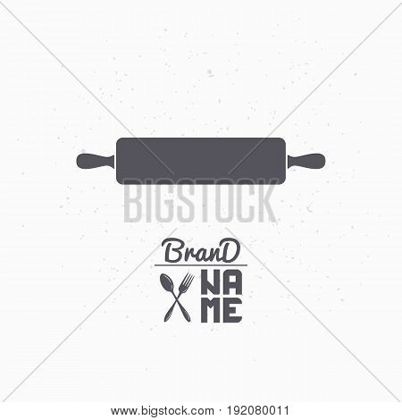 Hand drawn silhouette of rolling pin. Bakery logo template for craft food packaging or brand identity. Vector illustration