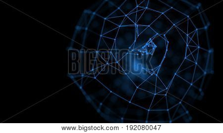 Abstract dark blue geometry surfaces, lines and points background, Used as digital wallpaper and technology background. 3d rendering, 3d illustration