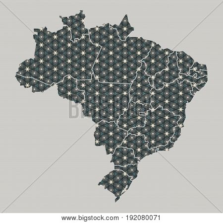 Brazil Map With Stars And Ornaments Including Borders